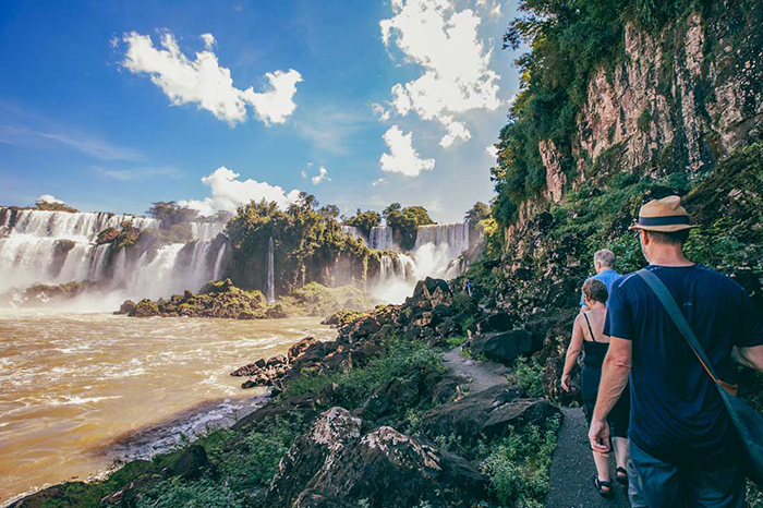 Tourists exploring around Iguazu Falls
