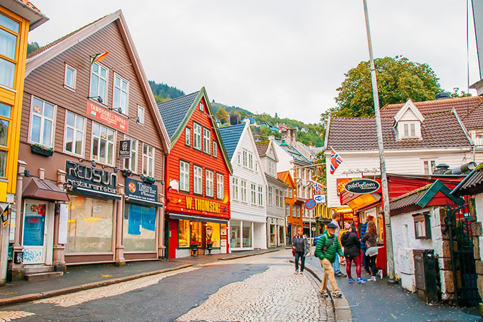 Cozy street and colored houses in Bergen