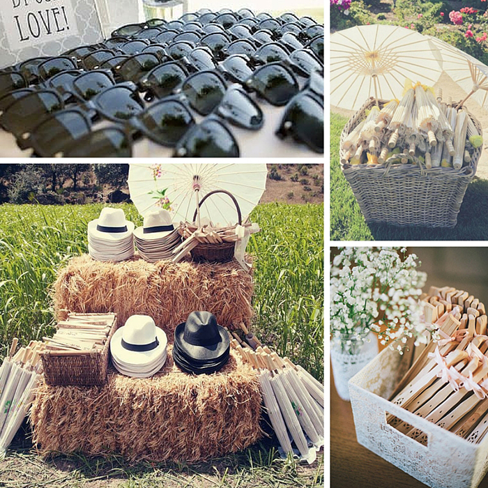 Different pictures of different wedding favors