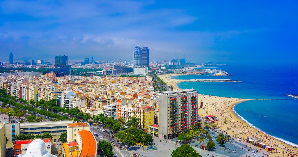The city of Barcelona and its beaches