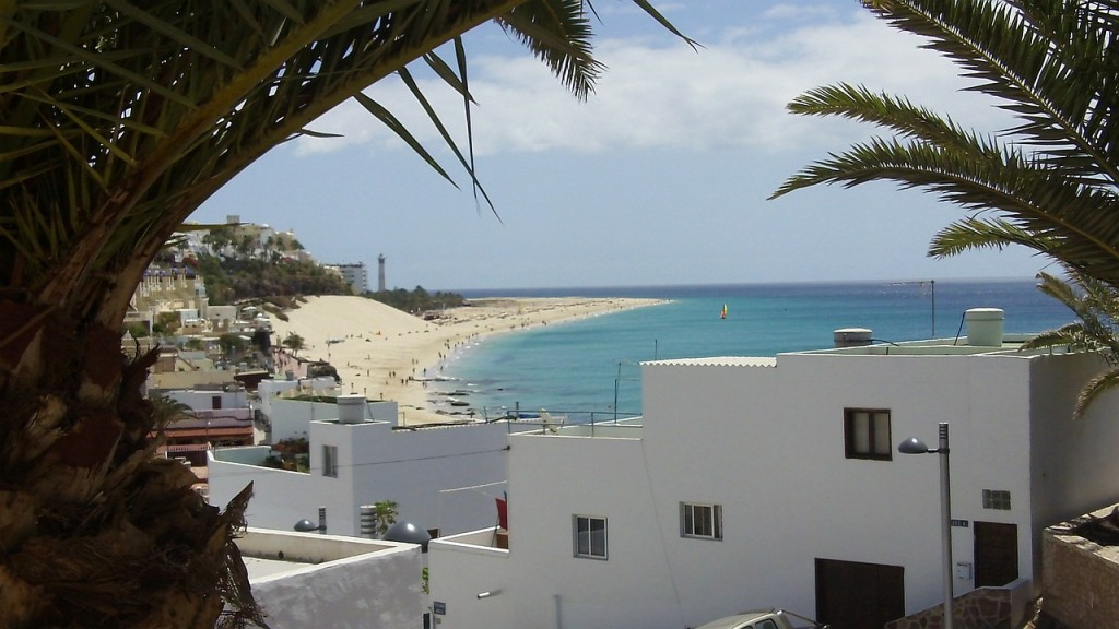 Morrocan style houses on the beach in Fuerteventura