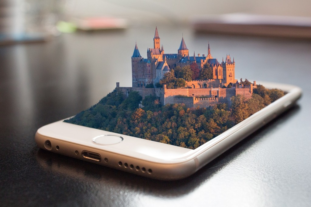 Virtual reality mobile phone with a castle popping out of it