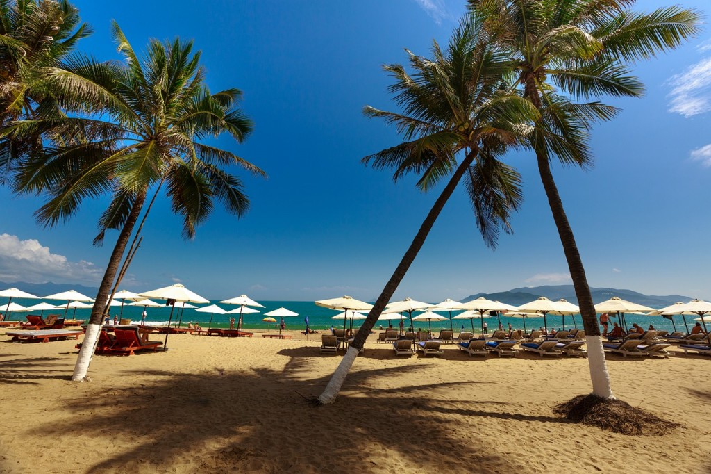 Sun umbrellas and palm trees on a beach in Nha Trang in Asia