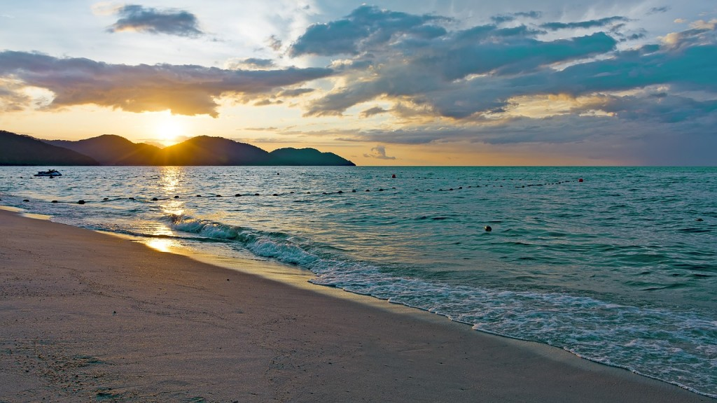Beach in Penang during sunset