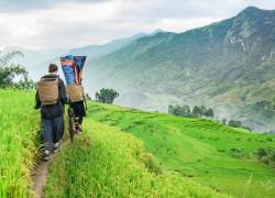 Trekking through Sapa valley in Vietnam