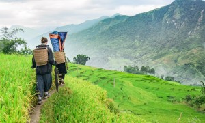 Trekking through Sapa valley in Vietnam