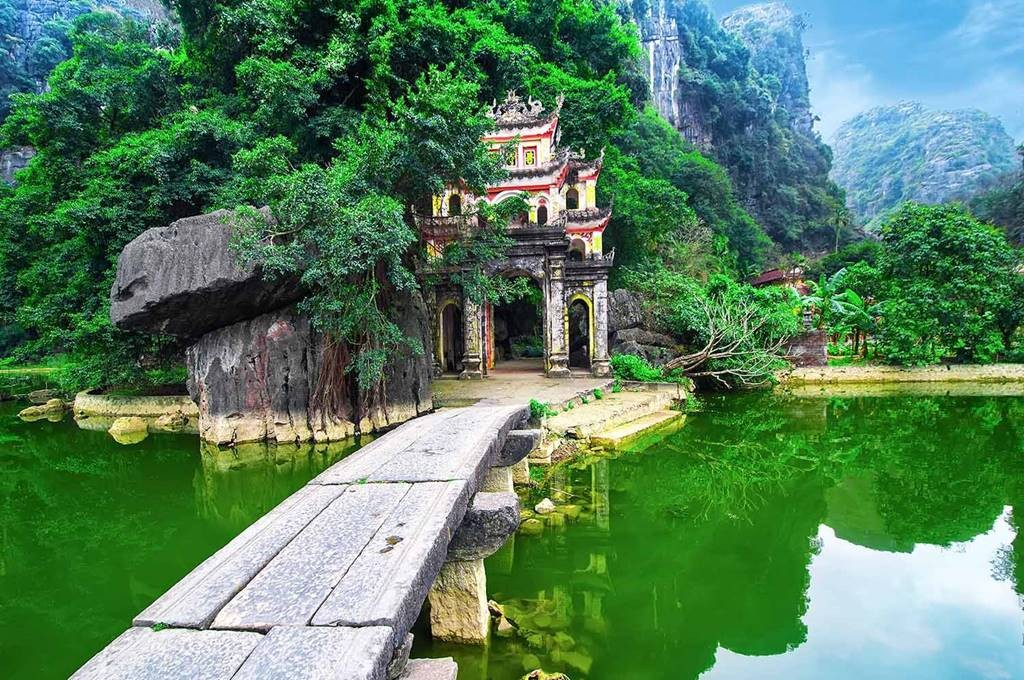 Ancient city on a river and forest around