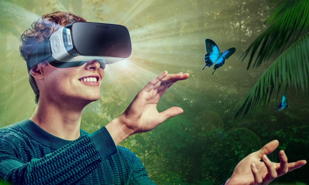 Person watching a virtual reality movie