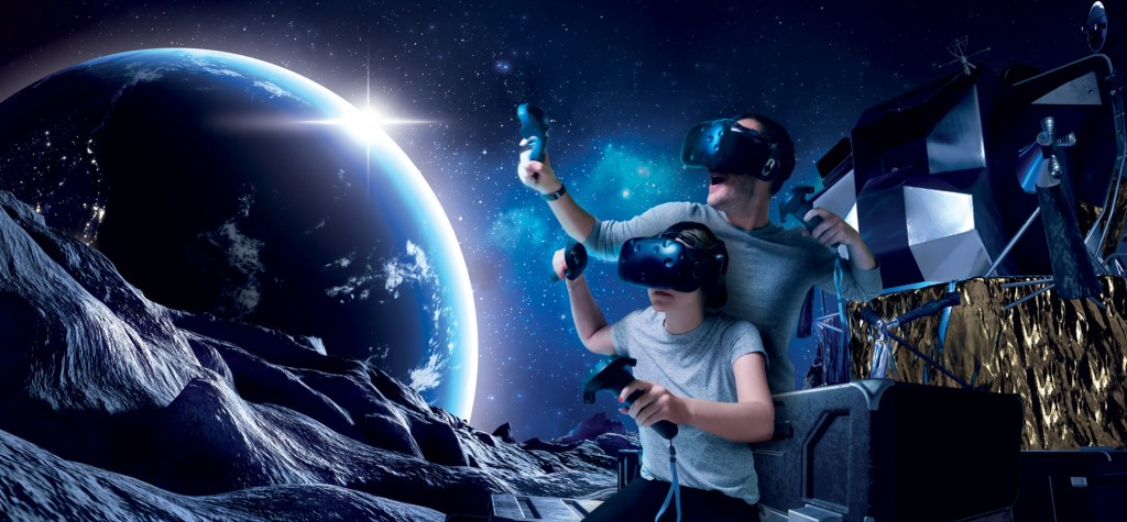Kid and a dad traveling in the space through VR