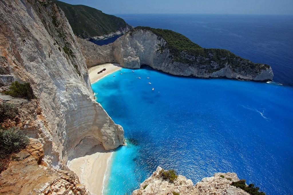 Zakynthos island and its nice sea surrounded with rocks