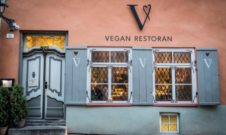 Front of a vegan restaurant