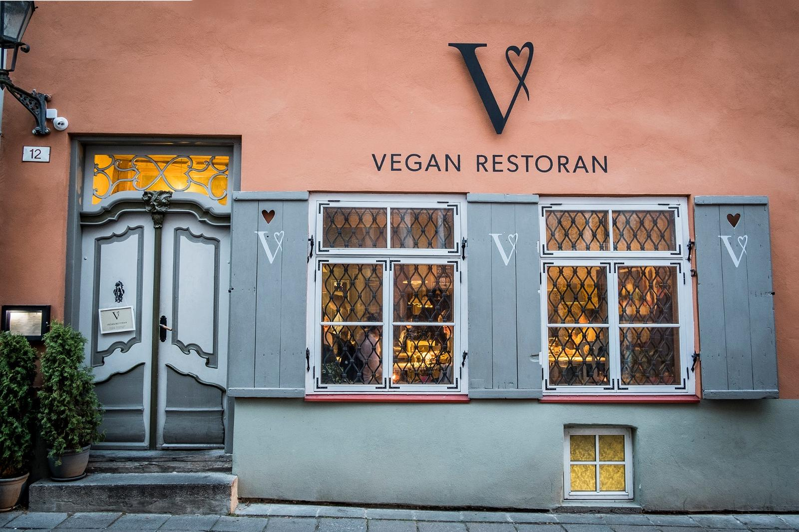 Front of a vegan restaurant