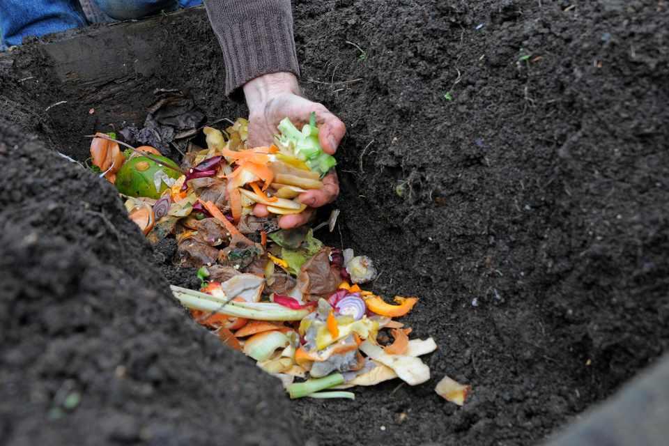 Adding composting material