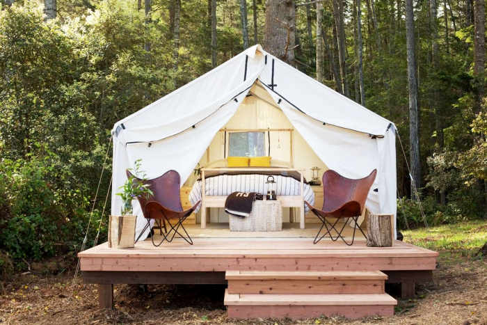 Fancy camping tent outdoors