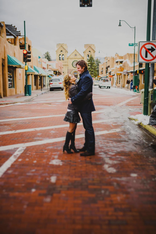 Couple hugging in Santa Fe
