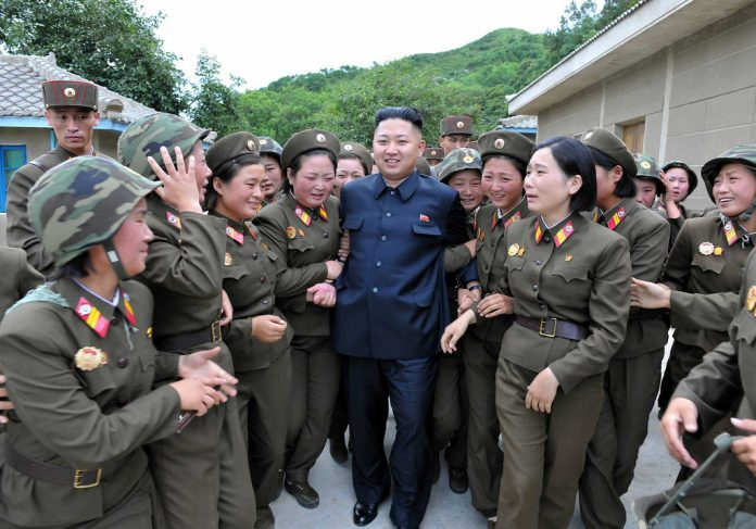 Women and Kim Jong un after voting