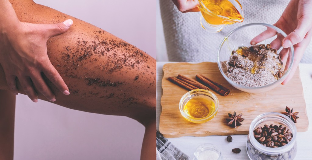 DIY coffee scrub with cinnamon and oil