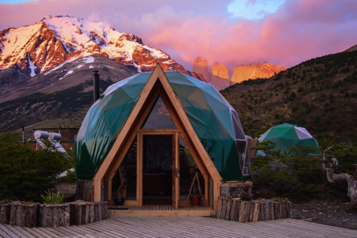 Lodge ecocamp tents in the form of dome in Patagonia
