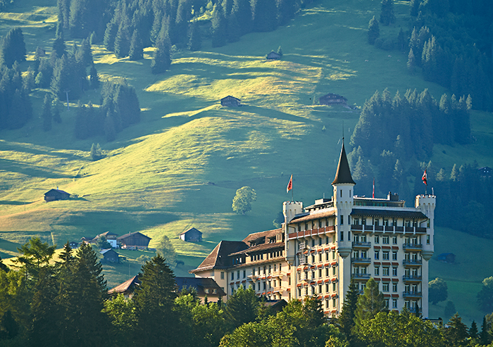 Gstaad Palace and the Swiss Alps behind