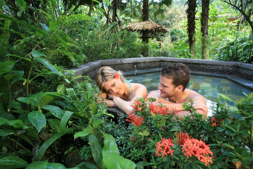 Couple sitting in the hot springs