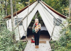 Glamping girl with a dog