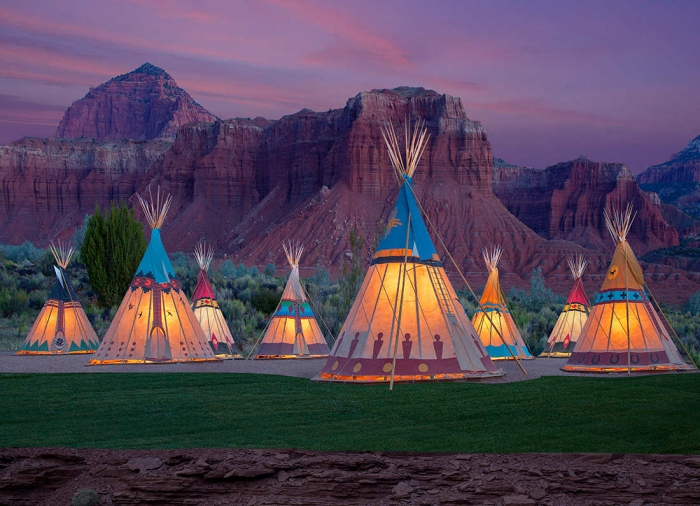 Early evening glamping in Utah with hippie tents