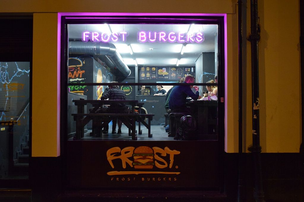 Front of Frost Burgers in UK with two persons eating