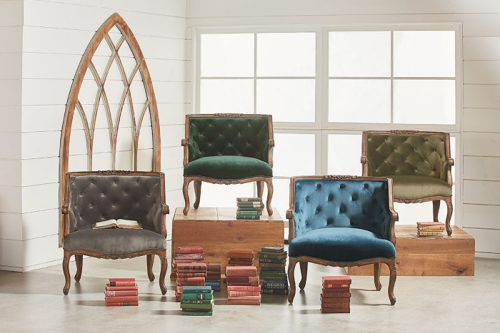 rustic French styles reading chairs and old books around them