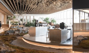 Green Cafe design with rocks and grass on the floor
