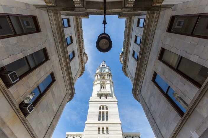 the city hall clock tower in Philadelphia USA