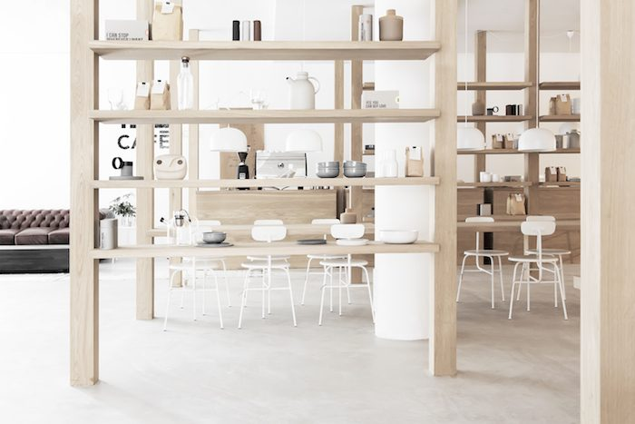 all white and wood cafe interior
