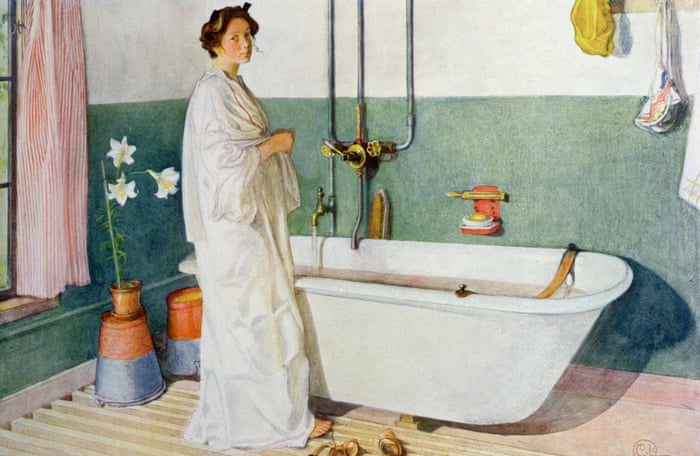 painting of a woman next to a bathtub