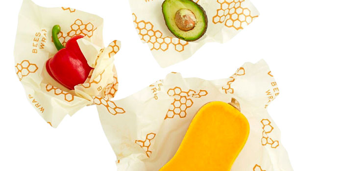 avocado, pepper and squash in beeswax wraps