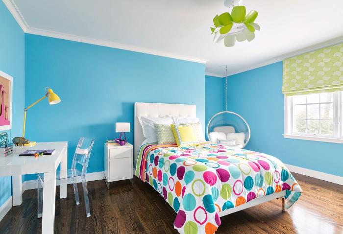 blue teenage bedroom