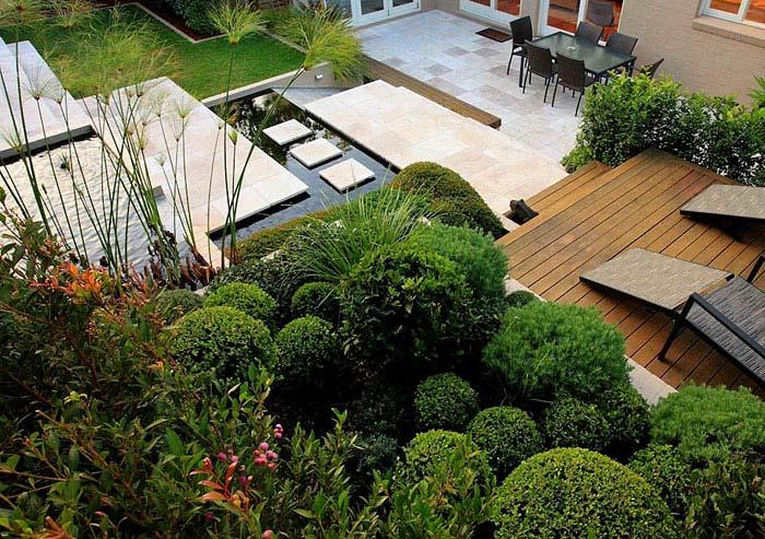 modern garden from above