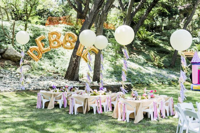 garden birthday party setting