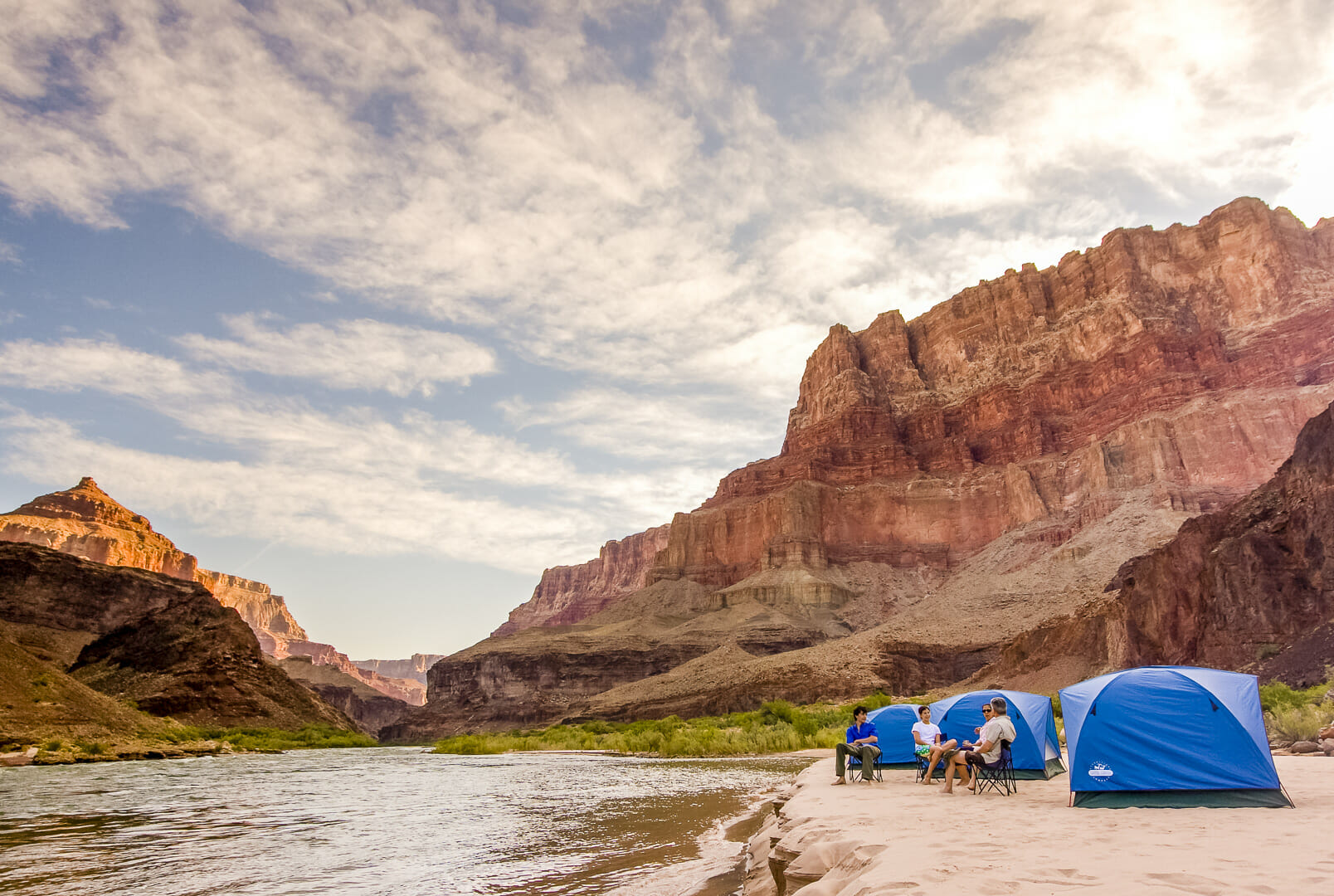 Men Camping in grand canyon in USA