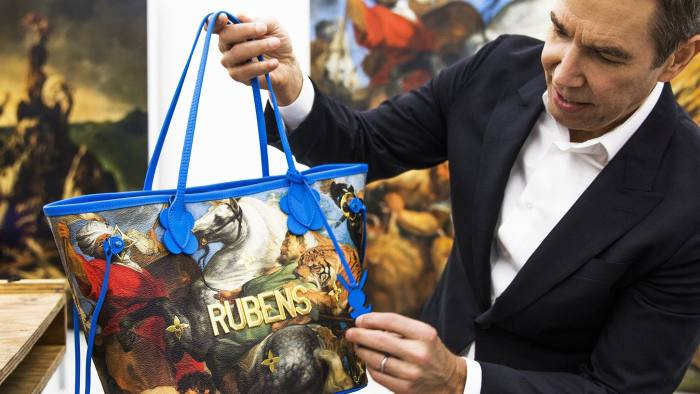 jeff koons with art handbag