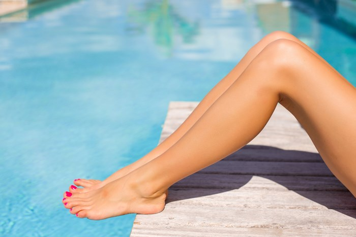 legs at a pool