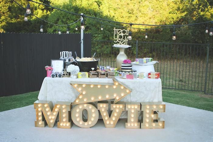 outdoor party buffet setting
