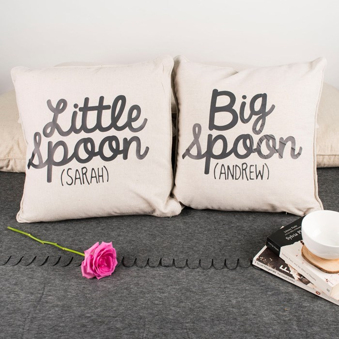 two personalized chair cushions