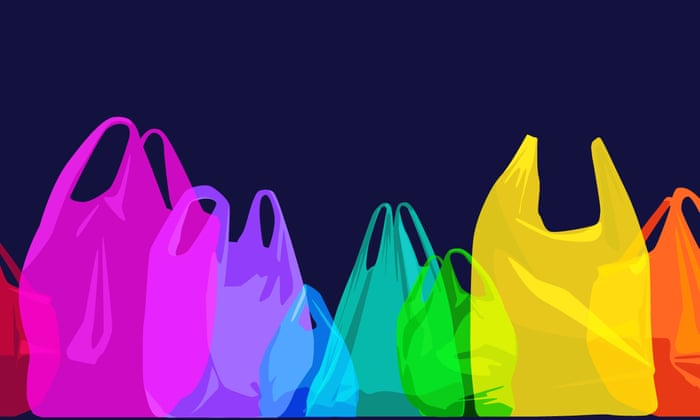 colorful plastic bags drawing