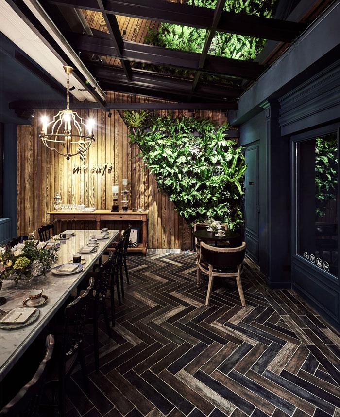 restaurant interior with chandelier
