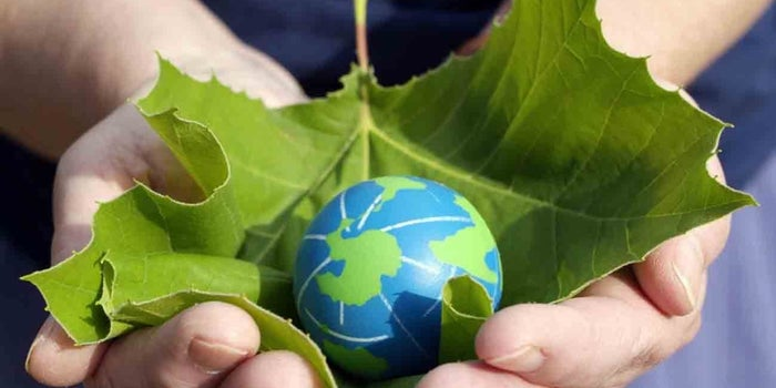 a hand holding a leaf and a planet inside