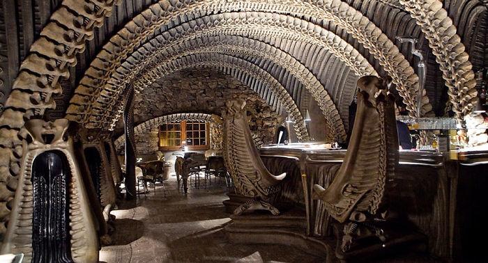 skeleton themed restaurant interior