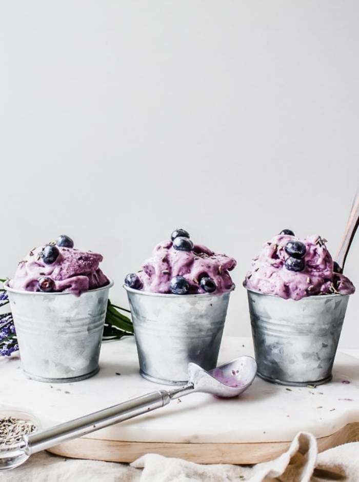 Homemade Blueberry Ice Cream in Metal Cups