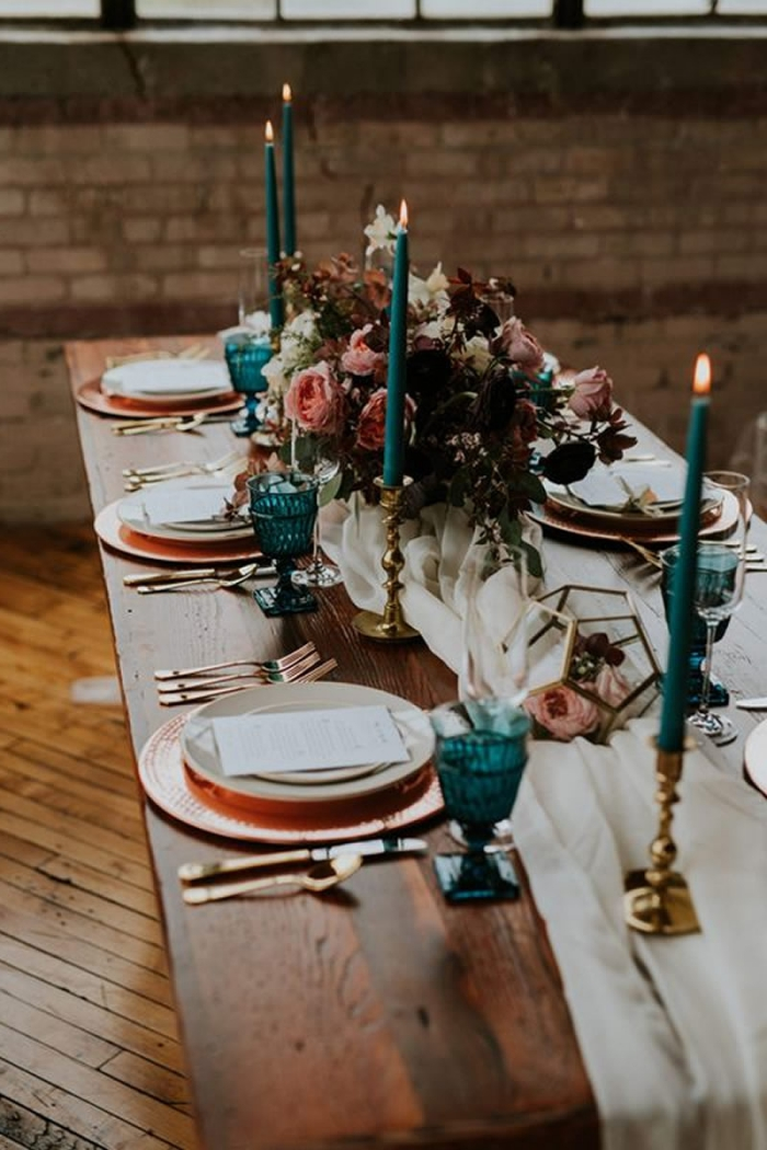 autumn wedding table with tall blue candles