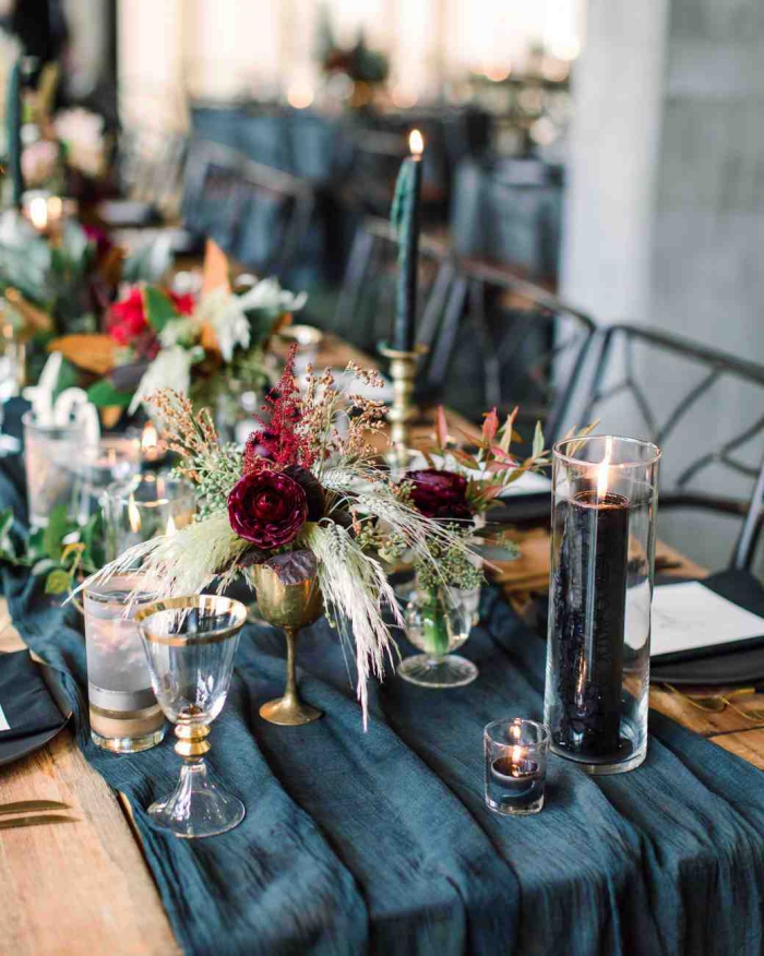 Jewel toned fall wedding table flower decoration and candle
