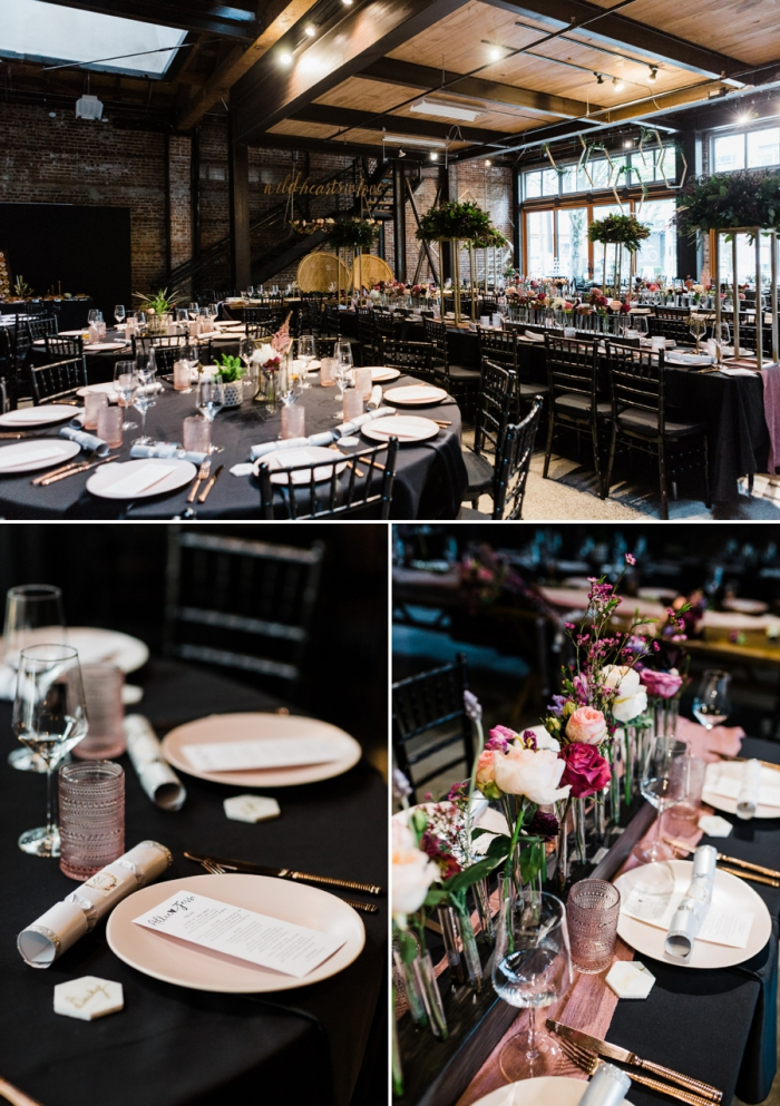 Wedding venue interior in black and wooden wedding table decorations