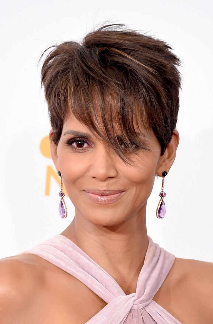 Halle Berry celebrity with short pixie hair long earrings red carpet